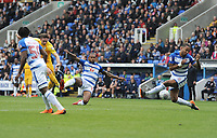 Preston North End's Alan Browne sees his effort blocked by Reading's Liam Moore<br /> <br /> Photographer Kevin Barnes/CameraSport<br /> <br /> The EFL Sky Bet Championship - Reading v Preston North End - Saturday 7th April 2018 - Madejski Stadium - Reading<br /> <br /> World Copyright © 2018 CameraSport. All rights reserved. 43 Linden Ave. Countesthorpe. Leicester. England. LE8 5PG - Tel: +44 (0) 116 277 4147 - admin@camerasport.com - www.camerasport.com