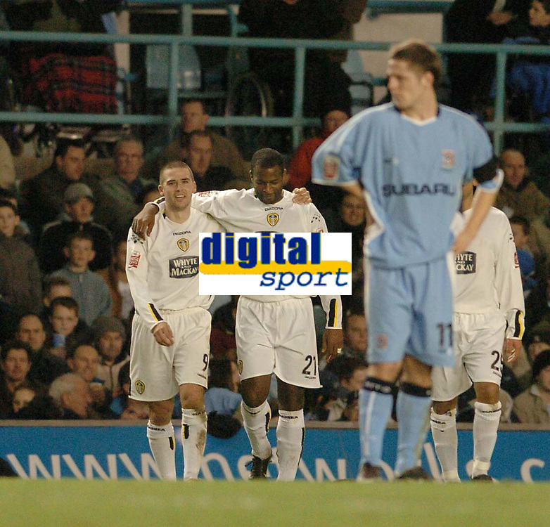 Fotball<br /> England 2004/2005<br /> Foto: SBI/Digitalsport<br /> NORWAY ONLY<br /> <br /> Coca Cola Championship<br /> 03/01/2005<br /> <br /> Coventry City v Leeds United <br /> <br /> David Healy celebrates with Nathan Blake after he scored the second goal for Leeds United.