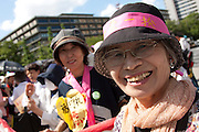 Junko Saima and anti nuclear activist from Shikoku marching at the Women's  Protest outside METI (Ministry of Economy, Trade and Industry) in Tokyo, Japan. Friday June 29th 2012. About 400 protesters campaigned the restarting of the Oi nuclear power-station and the policy of Prime-Minister Noda to restart Japan's nuclear power generation programme which has been stalled since the earthquake and tsunami of March 11th 2011 caused meltdown and radiation leaks at the Fukushima Daichi Nuclear power-plant.
