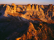 Hoodoos and badlands of the Chinle Formation, view from John Muir Log, Blue Mesa, Petrified Forest National Park, Arizona.