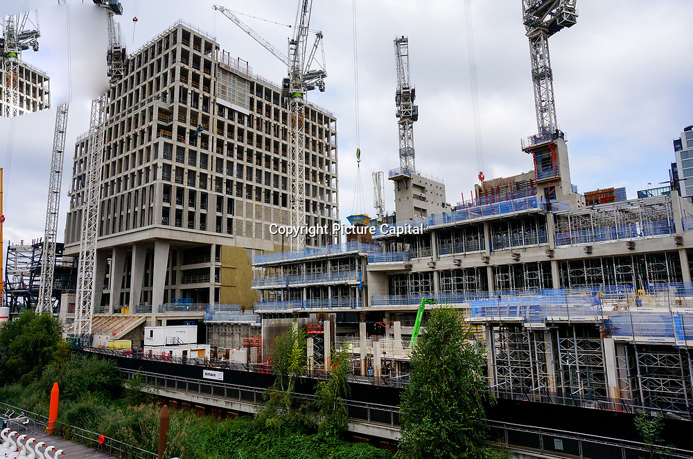 2021-09-20 Stratford, London, UK. Mass building construction at Queen Elizabeth Olympic Park, East Bank.