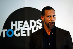 Former Engtlnad and Manchester United player Rio Ferdinand speaks at the Institute of Contemporary Arts in London where she and the Duke of Cambridge and Prince Harry were outlining the next phase of their mental health Heads Together campaign.