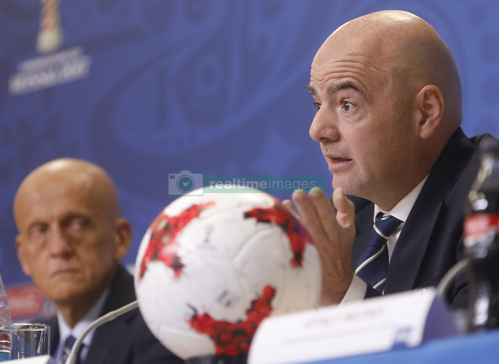 July 1, 2017 - Sain Petersburg, Russia - FIFA President Gianni Infantino (R) and FIFA's Chairman of the Referees Committee Pierluigi Collina during FIFA Confederations Cup Russia 2017 closing press conference at Saint Petersburg Stadium on July 1, 2017 in Saint Petersburg, Russia. (Credit Image: © Mike Kireev/NurPhoto via ZUMA Press)