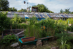 Sipson, UK. 5th June, 2018. A cultivated area and greenhouse are pictured at Grow Heathrow. Grow Heathrow is a squatted off-grid eco-community garden founded in 2010 on a previously derelict site close to Heathrow airport to rally support against government plans for a third runway and it has since made a significant educational and spiritual contribution to life in the Heathrow villages, which remain threatened by Heathrow airport expansion.
