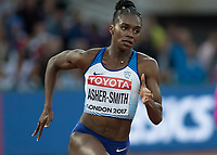Athletics - 2017 IAAF London World Athletics Championships - Day Five, Evening Session<br /> <br /> 200m Women Round 1<br /> <br /> Dina Asher-Smith round the bend at the London Stadium<br /> <br /> COLORSPORT/DANIEL BEARHAM