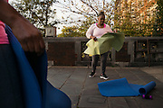 BIRMINGHAM, AL – NOVEMBER 17, 2015: Robin William exercises outside the John Herbert Phillips Academy in an aerobics class dedicated to teachers. After decades of the relentless spread of diabetes in the United States, federal data now show that the number of new cases has finally started to decline. On December 1, 2015, the Centers for Disease Control and Prevention published figures showing three consecutive years of decline in new cases, between 2012 and 2014.<br />
