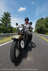 "Robert Gustavsson or ""Big Swede"" as he is fondly known, riding his 1931 Harley-Davidson VL during Stage 5 of the Motorcycle Cannonball Cross-Country Endurance Run, which on this day ran from Clarksville, TN to Cape Girardeau, MO., USA. Tuesday, September 9, 2014.  Photography ©2014 Michael Lichter."