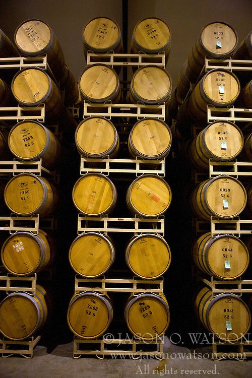 Stacked wine barrels, Napa Valley, California, United States of America