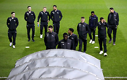 """A general view of Derby county players as they inspect the pitch prior to the Sky Bet Championship match at Elland Road, Leeds. PRESS ASSOCIATION Photo. Picture date: Friday January 11, 2019. See PA story SOCCER Leeds. Photo credit should read: Simon Cooper/PA Wire. RESTRICTIONS: EDITORIAL USE ONLY No use with unauthorised audio, video, data, fixture lists, club/league logos or """"live"""" services. Online in-match use limited to 120 images, no video emulation. No use in betting, games or single club/league/player publications."""