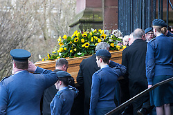 © Licensed to London News Pictures. 28/03/2018. Liverpool, UK. The coffin is carried from the hearse in to Liverpool Cathedral for the funeral of comedian and performer Sir Ken Dodd , who died on 11th March 2018 at the age of 90 . Photo credit: Joel Goodman/LNP