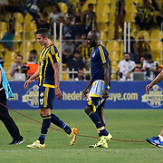 Fenerbahce's (R-L) headcoach Vitor Pereira, Sow, Van Persie during their UEFA Champions league third qualifying round first leg soccer match Fenerbahce between Shakhtar Donetsk at the Sukru Saracaoglu stadium in Istanbul Turkey on Tuesday 28 July 2015. Photo by Aykut AKICI/TURKPIX