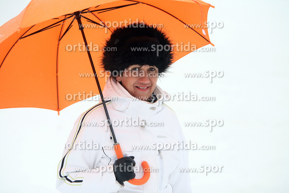 "Women with umbrella at  ""Ski Legends HIT Challenge by Jure Kosir"" event in Kranjska Gora, Slovenia, on February 2, 2008. (Photo by Vid Ponikvar / Sportal Images)."