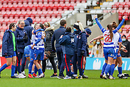 Reading celebrate at the final whistle during the FA Women's Super League match between Manchester United Women and Reading LFC at Leigh Sports Village, Leigh, United Kingdom on 7 February 2021.
