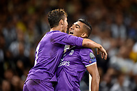 Cristiano Ronaldo and Carlos Henrique Casemiro (r) of Real Madrid celebrate scoring the opening goal during the UEFA Champions League Final match between Real Madrid and Juventus at the National Stadium of Wales, Cardiff, Wales on 3 June 2017. Photo by Giuseppe Maffia.<br /> <br /> Giuseppe Maffia/UK Sports Pics Ltd/Alterphotos
