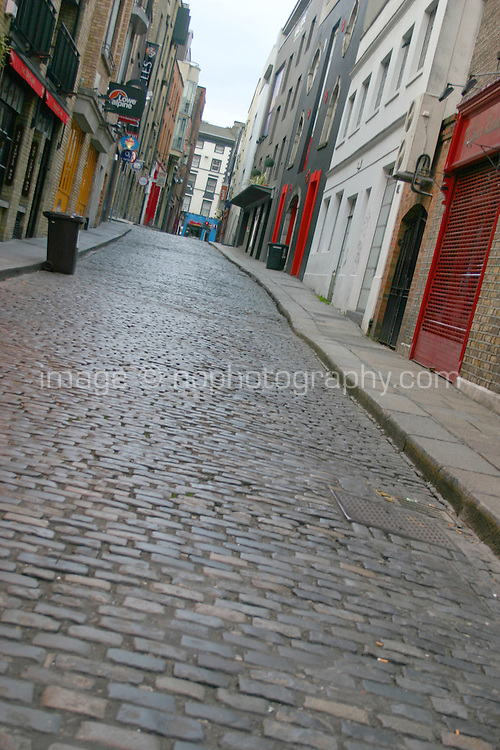 Early morning empty streets in Temple Bar, Dublin, Ireland