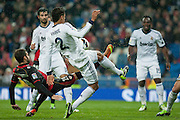 Varane fights for the ball