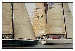 The first mornings racing at the Bell Lawrie Yachting Series in Tarbert Loch Fyne .Damp and light conditions made the conditions challenging for the competitors...Volvo Keelboat Programme Logo between Tiamat and  Gloves Off..