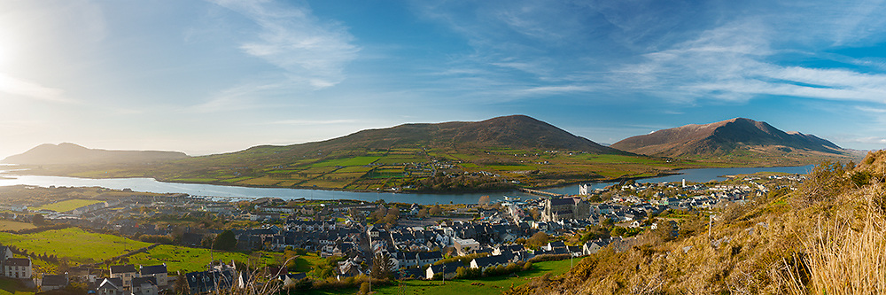 Cahersiveen Town Panorama with Knock na d'Tobar, River Ferta, Ballycarbery Castle, Cahersiveen County Kerry, Ireland | xch007