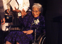 Civil Rights activist Rosa Parks waves after being honored in the U.S. Capitol with the Congressional Gold Medal in June 1999. (Kirthmon F. Dozier/Detroit Free Press/TNS)  | BRTNS20180304_001 WASHINGTON
