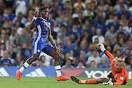 Michy Batshuayi of Chelsea takes a shot at goal. EFL Cup 2nd round match, Chelsea v Bristol Rovers at Stamford Bridge in London on Tuesday 23rd August 2016.<br /> pic by John Patrick Fletcher, Andrew Orchard sports photography.