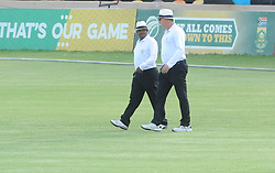Johannesburg 20-12-18. South Africa Invitation XI vs Pakistan three-day match at Sahara Willowmoore Park, Benoni. Day 2.  Umpires Siphelele Gasa and Adrian Holdstone walk onto the field for the start of the second innings. Picture: Karen Sandison/African News Agency(ANA)