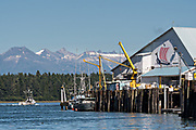 A fishing boat pulls out from the Icicle Seafoods fish docks in the tiny village of Petersburg on Mitkof Island along the Wrangell Narrows in Frederick Sound with the Alaska Coast Range of mountains behind on Mitkof Island, Alaska. Petersburg settled by Norwegian immigrant Peter Buschmann is known as Little Norway due to the high percentage of people of Scandinavian origin.