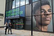 A window display at Coutts headquarters in the Strand celebrates footballer Marcus Rashford MBE as part of Black History Month on 15th October 2021 in London, United Kingdom. Black History Month, first celebrated in the UK in October 1987, is themed around a Proud To Be campaign for 2021 inspired by the 2020 Black Lives Matter events.