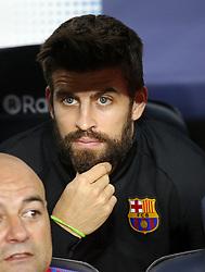 October 21, 2017 - Barcelona, Catalonia, Spain - Gerard Pique on the bench during La Liga match between FC Barcelona v Malaga CF, in Barcelona, on October 21, 2017. (Credit Image: © Joan Valls/NurPhoto via ZUMA Press)