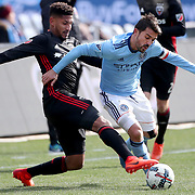 NEW YORK, NEW YORK - March 12:  David Villa #7 of New York City FC is challenged by Sean Franklin #5 of D.C. United during the NYCFC Vs D.C. United regular season MLS game at Yankee Stadium on March 12, 2017 in New York City. (Photo by Tim Clayton/Corbis via Getty Images)