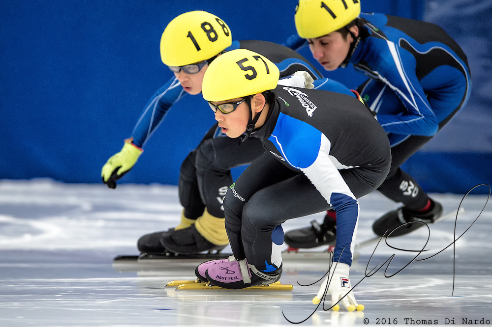 March 19, 2016 - Verona, WI - Shawn Kim, skater number 57 competes in US Speedskating Short Track Age Group Nationals and AmCup Final held at the Verona Ice Arena.