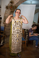 An arazzi made of linen, byssus silk and gold. It took 10 years to finis this one.  Patterns are not writen and the maestro memorized hundres of them as songs she sings while working at the loom. She is the only one still knowing those patterns and having the skills to repoduce them.  Federico Scoppa 2017