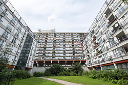 Social housing apartment blocks at Pallasseum on Pallastrasse in Schoeneberg district of Berlin, Germany.