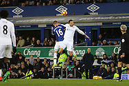 James McCarthy of Everton (l) and Gylfi Sigudsson of Swansea City jump for the ball. Premier league match, Everton v Swansea city at Goodison Park in Liverpool, Merseyside on Saturday 19th November 2016.<br /> pic by Chris Stading, Andrew Orchard sports photography.
