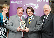 Sarah Kelly and Christy Lynch of Kare receive their award from Matt Fisher COO, EFQM and Bob Barbour, director & chief executive Centre for Competitiveness at the EFQM Ireland Excellence Awards ceremony in association with Fáilte Ireland and the Centre for Competitiveness at the Galway Bay Hotel on Friday night. Photo:- Andrew Downes Photography / No Fee