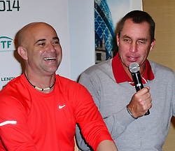 Andre Agassi with Ivan Lendl attends World Tennis Day Showdown press conference ahead of his participation in World Tennis Day Showdown today, where Agassi will play Sampras, and Lendl will play Cash in memory of their 'epic Grand Slam rivalries', at The Athenaeum Hotel, 116 Piccadilly, London, United Kingdom. Monday, 3rd March 2014. Picture by Nils Jorgensen / i-Images