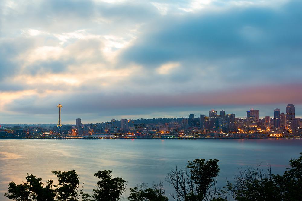 Seattle skyline at dawn, Washington State, USA