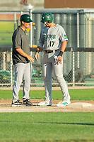 KELOWNA, BC - JULY 24: Greg Fuchs #17 of the Yakima Valley Pippins stands at third base speaking to the coach against the the Kelowna Falcons at Elks Stadium on July 24, 2019 in Kelowna, Canada. (Photo by Marissa Baecker/Shoot the Breeze)