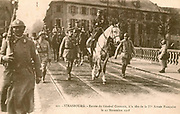 Alsace-Lorraine: General Gouraud entering Strasbourg at the head of the French IVth Army on 22 November 1918, as France occupied the Rhineland after World War I, and regained Alsace-Lorraine from Germany.