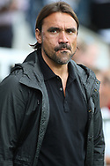 Norwich City Manager Daniel Farke looks on prior to kick off. EFL Skybet football league championship match, Fulham  v Norwich city at Craven Cottage in London on Saturday 5th August 2017.<br /> pic by Steffan Bowen, Andrew Orchard sports photography.