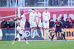 October 28, 2018 - Toronto, ON, U.S. - TORONTO, ON - OCTOBER 28: Darlington Nagbe (6), Franco Escobar (2), Jeff Larentowicz (18) and Jeff Larentowicz (18) of Atlanta United FC jump to stop a free kick during the first half of the MLS Decision Day match between Toronto FC and Atlanta United FC on October 28, 2018, at BMO Field in Toronto, ON, Canada. (Photograph by Julian Avram/Icon Sportswire) (Credit Image: © Julian Avram/Icon SMI via ZUMA Press)