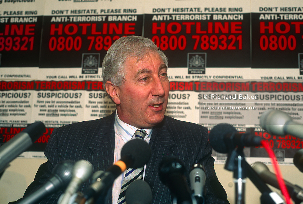 The head of British police's anti-terrorism squad, George Churchill-Coleman speaks at a press conference in the summer of 1991 in London, UK. Ex-Metropolitan Police Commander Churchill-Coleman OBE (1938-2015) headed the anti-terror squad for seven years as they battled the IRA's mainland bombing campaign of the late 1980s and early 1990s. He was killed in a motoring collision in January 2015.