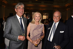 Left to right, Michael Ward, Dame Theresa Sackler and Nicholas Coleridge at the Balenciaga Shaping Fashion VIP Preview, The V&A Museum, London England. 24 May 2017.<br /> Photo by Dominic O'Neill/SilverHub 0203 174 1069 sales@silverhubmedia.com