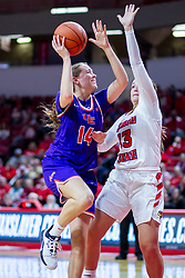 NORMAL, IL - January 05: Abby Feit attempts a shot while defended by Kayel Newland during a college women's basketball game between the ISU Redbirds and the Purple Aces of University of Evansville January 05 2020 at Redbird Arena in Normal, IL. (Photo by Alan Look)