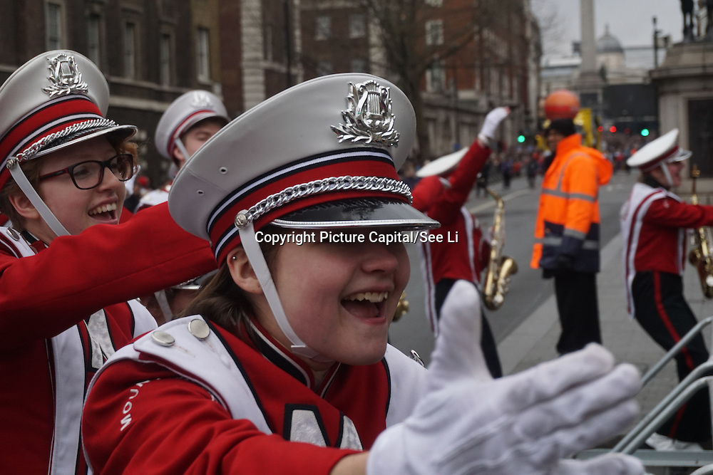 The Annual London New Year Parade with hundreds of American bands and cheerleaders on 1st January 2017 through Whitehall, London,UK. Photo by See Li/Picture Capital
