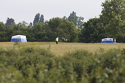 © Licensed to London News Pictures. 08/06/2020. London, UK. Police guard forensics tents at Fryent Country Park in Wembley. According to reports, two women were found unresponsive and were pronounced dead at the scene yesterday. Photo credit: Peter Macdiarmid/LNP