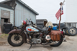 Ron Roberts' 1936 Indian Chief during stage 8 of the Motorcycle Cannonball Cross-Country Endurance Run, which on this day ran from Junction City, KS to Burlington, CO., USA. Saturday, September 13, 2014.  Photography ©2014 Michael Lichter.