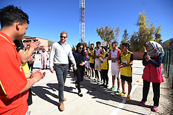 The Duke and Duchess of Sussex during their visit to the local Secondary School, Lycee Qualifiant Grand Atlas, where they met with students and teachers in Asni Town, Atlas Mountains on the second day of their tour of Morocco.