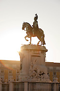 The statue of King Jose I, at the Praca do Comercio, Commercial Square, a populat meeting point and tourist site in Lisbon, Portugal