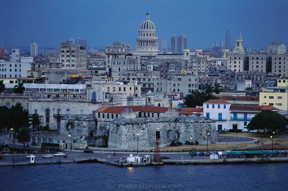 A view of old Havana and central Havana, with the national capitol uppermost in the image. Havana, Cuba.
