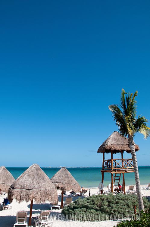 The beachfront at Excellence Playa Mujeres Resort at Playa Mujeres, north of Cancun, Quintana Roo, Mexico